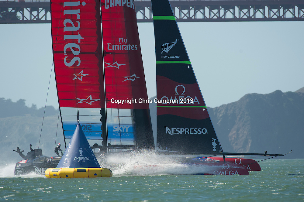 Emirates Team New Zealand have port entry for the start of race 18.  America's Cup 34. 24/9/2013
