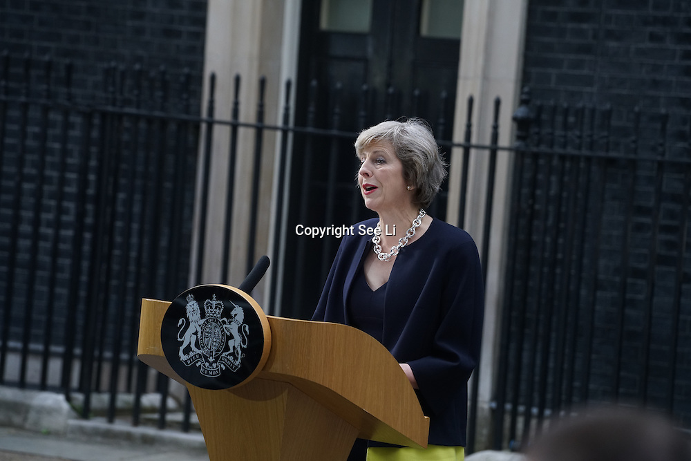 London,England,UK, 13th July 2016 : New British PM Theresa May arrives in Downing Street at No 10 Downing Street, London, UK. Photo by See Li