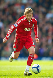 BIRMINGHAM, ENGLAND - Sunday, April 4, 2010: Liverpool's Lucas Leiva in action against Birmingham City during the Premiership match at St Andrews. (Photo by David Rawcliffe/Propaganda)