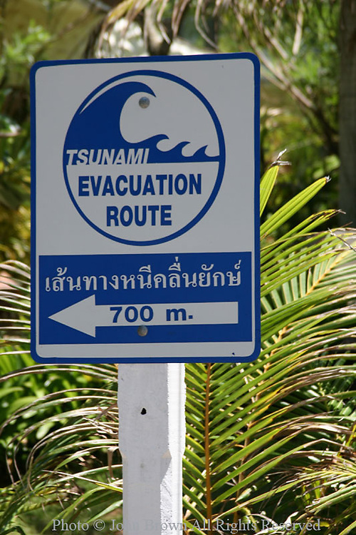 A sign advises people as to the location of the tsunami