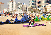 Israel, Tel Aviv, Kite surfing in the Mediterranean sea