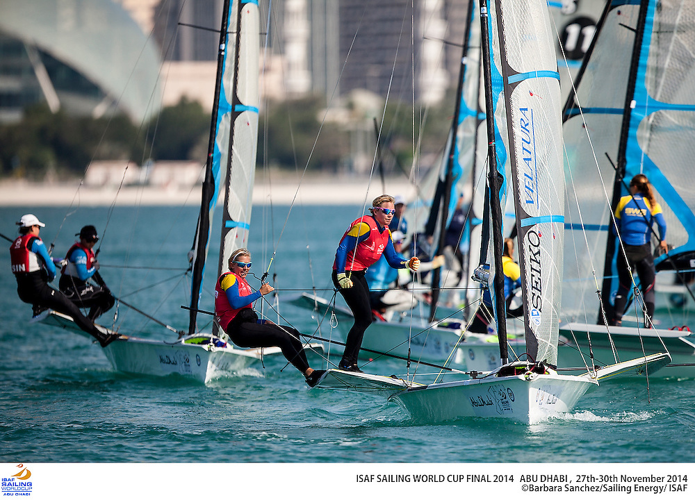 2014 ISAF Sailing World Cup Final, Abu Dhabi, United Arab Emirate. Date – 28th november, day 2 of racing. All ten Olympic sailing events are being contested in Abu Dhabi from with an open kiteboarding event joining the fray around Lulu Island off the UAE capital's stunning Corniche. Prize money will be awarded to the top three overall finishers in each of the Olympic events from a total prize purse of US$200,000. The Abu Dhabi Sailing and Yacht Club is the host of the ISAF Sailing World Cup Final with some technical facilities located at the adjacent Abu Dhabi International Marine Sports Club. The venue is located on the main island of the city with immediate access to the beautiful waters of the Arabian Gulf.