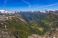 View of Geiranger from Dalsnibba, Norway - August