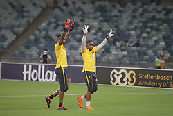 10032018 (Durban) Chiefs goalkeepers Itumeleng Khune and Brilliant Khuzwayo warming up when Kaizer Chiefs will look to advance to the next round of the Nedbank Cup top 16 when hosting Stellenbosch FC at the Moses Mabhida Stadium. Amakhosi went down 3-1 to arch-rivals Orlando Pirates in a tense Soweto derby match last weekend where they lost ground in their league title chase.Picture: Motshwari Mofokeng/African News Agency/ANA