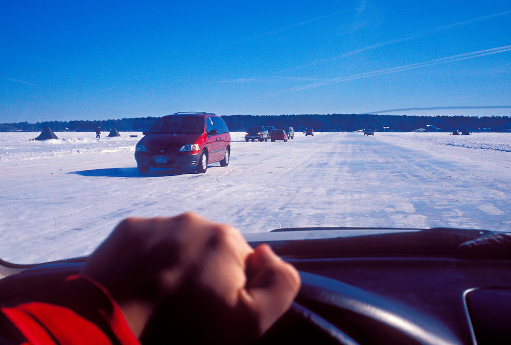 First hand view of driving the ice road that connects Bayfield, Wis. with Madeline Island in winter, looking towards the island.
