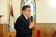 10/17/10 12:24:43 PM -- Darby, PA<br />  -- Democratic Congressional candidate Bryan Lentz speaks with the congregation of First Baptist Church October 17, 2010  in Darby, Pennsylvania. Bryan Lentz  faces Republican Pat Meehan  in the Nov. 2 general election.   --  Photo by William Thomas Cain/Cain Images