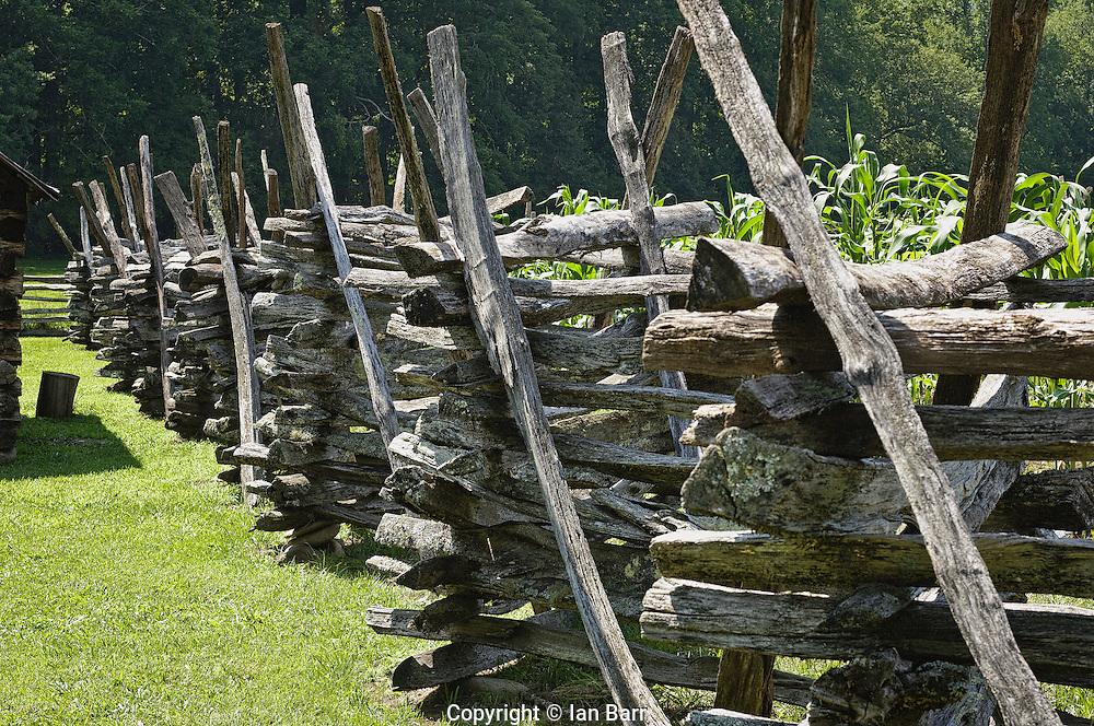Zig Zag or Virginia rail fence at the Oconaluftee Mountain farm museum, North Carolina.