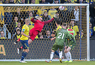FODBOLD: Marvin Schwäbe (Brøndby IF) vipper bolden på overliggeren under kampen i Superligaen mellem Brøndby IF og FC Nordsjælland den 13. maj 2019 på Brøndby Stadion. Foto: Claus Birch.