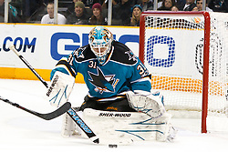 December 11, 2010; San Jose, CA, USA;  San Jose Sharks goalie Antti Niemi (31) stops a shot during the first period against the Chicago Blackhawks at HP Pavilion. Mandatory Credit: Jason O. Watson / US PRESSWIRE