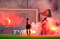 Nicolas Burdisso. Smoke Bombs on the pitch launched by Genoa supporters <br /> Genova 05-01-2016 Stadio Marassi. Football Calcio Serie A 2015/2016 Genoa - Sampdoria / foto Image Sport/Insidefoto