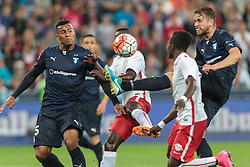 29.07.2015, Red Bull Arena, Salzburg, AUT, UEFA CL, FC Salzburg vs Malmoe FF, Qualifikation, 3. Runde, Hinspiel, im Bild v.l.: Felipe Carvalho (Malmoe), Naby Keita (FC Red Bull Salzburg), David Atanga (FC Red Bull Salzburg), Kari Arnason (Malmoe) // during the UEFA Championsleague Qualifier 3rd round, 1st Leg Match between FC Salzburg and Malmoe FF at the Red Bull Arena in Salzburg, Austria on 2015/07/29. EXPA Pictures © 2015, PhotoCredit: EXPA/ JFK