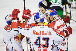 02.11.2012, Hala Tivoli, Ljubljana, SLO, EBEL, HDD Telemach Olimpija Ljubljana vs EC Red Bull Salzburg, 18. Runde, in picture Players of EC Red Bull Salzburg celebrate after scoring a goal during the Erste Bank Icehockey League 18th Round match between HDD Telemach Olimpija Ljubljana and EC Red Bull Salzburg at the Hala Tivoli, Ljubljana, Slovenia on 2012/11/02. (Photo By Matic Klansek Velej / Sportida)