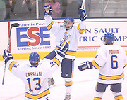 Lake Superiior State University's Tyson Hobbins (center) celebrates with line mates Fred Cassiani (13) and Kyle Pobur (6) after scoring in the first period of the Lakers Saturday night game against the Canisius Griffins.