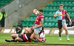 Jonas Mikalcius of Harlequins is tackled - Mandatory by-line: Robbie Stephenson/JMP - 28/07/2017 - RUGBY - Franklin's Gardens - Northampton, England - Harlequins v Gloucester Rugby - Singha Premiership Rugby 7s