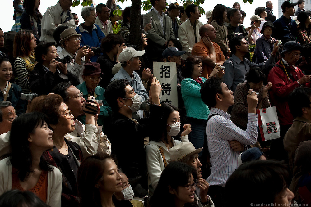 People watching the Yabusame ritual in Asakusa