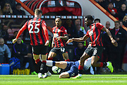 Red Card - Juan Foyth (21) of Tottenham Hotspur slides in with a high boot on Jack Simpson (25) of AFC Bournemouth and is show a red card for his dangerous tackle during the Premier League match between Bournemouth and Tottenham Hotspur at the Vitality Stadium, Bournemouth, England on 4 May 2019.