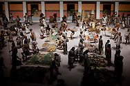 A model scene in the museum of Anthropology in Mexico city showing a maker where farmers sold their produce. At the time the Spanish arrived in Mexico city it was the most agriculturally productive region in the world with the world's largest population center.