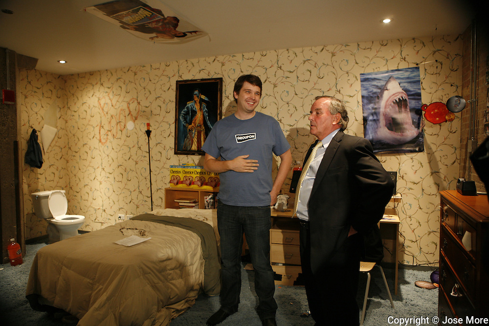 "Mayor Richard Daley,right, gets a tour of Groupon's headquarters by founder and CEO Andrew Mason Tuesday August 31, 2010. Mason, left, shows their ""crazy room"" at Groupon's headquarters are in the former Montgomery Wards' catalog warehouse.  Jose More Photography..."