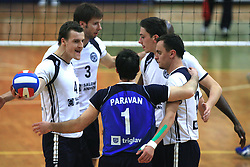 Jernej Potocnik, Adam Kaminski, Tomaz Paravan, Dejan Vincic and Darijo Savicic of Salonit at last final volleyball match between OK ACH Volley and Salonit Anhovo, on April 21, 2009, in Arena SGS Radovljica, Slovenia. ACH Volley won the match 3:0 and became Slovenian Champion. (Photo by Vid Ponikvar / Sportida)