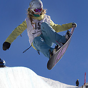 Makayla Tierney, USA, in action during the Women's Half Pipe competition at the Burton New Zealand Open 2011 held at Cardrona Alpine Resort, Wanaka, New Zealand, 9th August 2011. Photo Tim Clayton