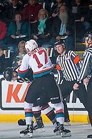 KELOWNA, CANADA - FEBRUARY 10: Rodney Southam #17 of the Kelowna Rockets drops the gloves with Jack Flaman #18 of the Vancouver Giants on February 10, 2017 at Prospera Place in Kelowna, British Columbia, Canada.  (Photo by Marissa Baecker/Shoot the Breeze)  *** Local Caption ***