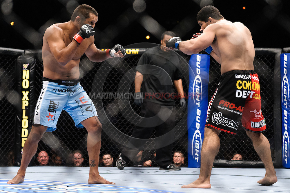 "ATLANTA, GEORGIA, SEPTEMBER 6, 2008: Dan Henderson (left) and Rousimar Palhares are pictured during ""UFC 88: Breakthrough"" inside Philips Arena in Atlanta, Georgia on September 6, 2008"