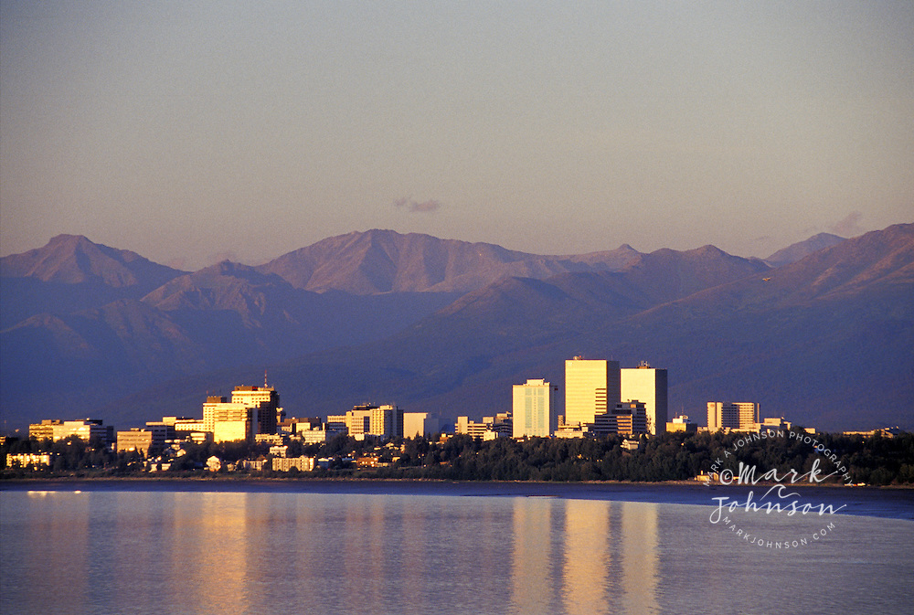 Alaska, downtown Anchorage at sunset