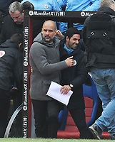 Football - 2018 / 2019 Premier League - Crystal Palace vs. Manchester City<br /> <br /> City Manager, Pep Guardiola and Manchester City assistant coach Mikel Arteta celebrate at the final whistle, at Selhurst Park.<br /> <br /> COLORSPORT/ANDREW COWIE