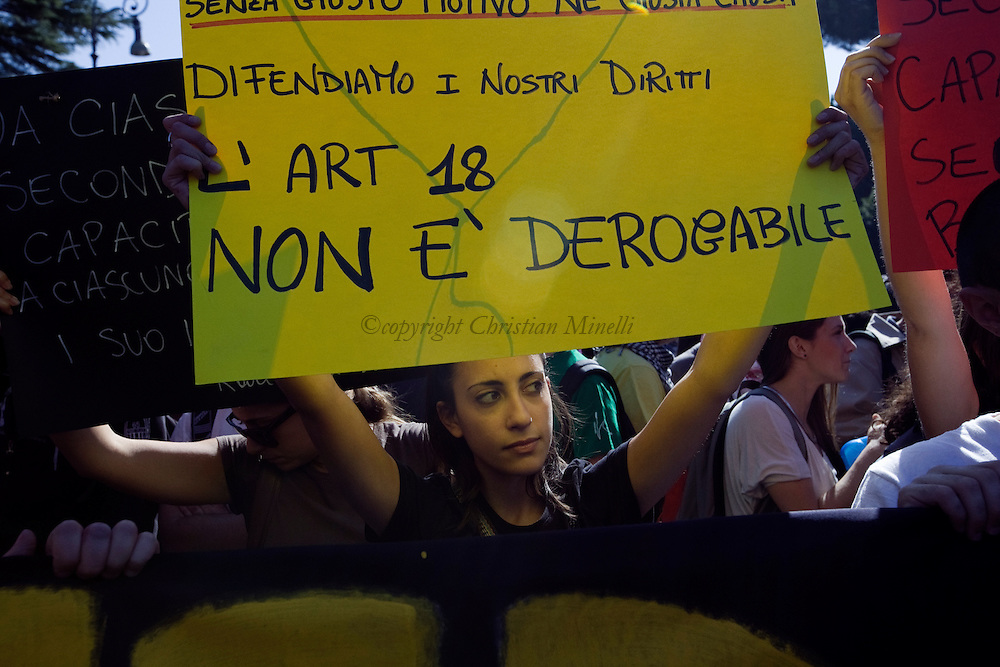 ITALY, Rome, October 15, 2011:Students hold placards during a  demonstration in Rome on October 15, 2011. © Christian Minelli/Emblema.