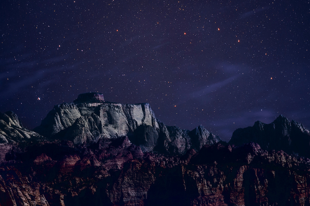 Landscape and night sky composite. Colors done in the LAB space.