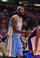 Oct. 22 2010; Phoenix, AZ, USA; Denver Nuggets power forward Renaldo Balkman (32) reacts during a free throw during the first half against the Phoenix Suns during a preseason game at the US Airways Center. The Nuggets defeated the Suns 144 - 106. Mandatory Credit: Jennifer Stewart-US PRESSWIRE.
