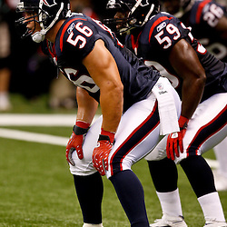 August 21, 2010; New Orleans, LA, USA; Houston Texans linebacker Brian Cushing (56) lines up for a play during the first quarter of a preseason game against the Houston Texans at the Louisiana Superdome. Mandatory Credit: Derick E. Hingle