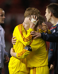 Manchester, England - Thursday, April 26, 2007: Liverpool's captain Jay Spearing celebrates with Steven Irwin after beating Manchester United on penalties to win the FA Youth Cup for the second successive year during the FA Youth Cup Final 2nd Leg at Old Trafford. (Pic by David Rawcliffe/Propaganda)