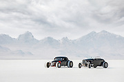 Image of two black hot rod racecars at Speed Week 2018 at the Bonneville Salt Flats, Utah, American Southwest