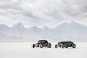 Image of two black hot rod racecars at Speed Week 2018 at the Bonneville Salt Flats, Utah, American Southwest
