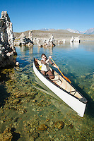 Arya Degenhardt canoeing on Mono Lake. Lee Vining, CA