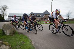 Alexis Ryan (USA) of CANYON//SRAM Racing leans into a corner during the last lap of Stage 4 of the Healthy Ageing Tour - a 126.6 km road race, starting and finishing in Finsterwolde on April 8, 2017, in Groeningen, Netherlands.