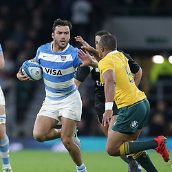 Martin Landajo of Argentina fends away Will Genia of Australia during the The Rugby Championship match between Argentina and Australia at Twickenham Stadium, Twickenham - 08/10/2016<br />