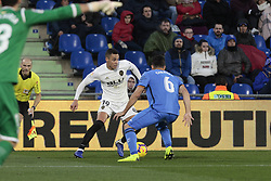 November 10, 2018 - Getafe, Madrid, Spain - Getafe CF's Leandro Cabrera and Valencia CF's Rodrigo Moreno during La Liga match between Getafe CF and Valencia CF at Coliseum Alfonso Perez in Getafe, Spain. November 10, 2018. (Credit Image: © A. Ware/NurPhoto via ZUMA Press)