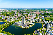 Nederland, Noord-Brabant, Den Bosch, 13-05-2019; Zuidplas met Provinciehuis van de Provincie Noord-Brabant (architect Huig Maaskant). Bedrijvenpark  De Pettelaar / Pettelaarpark.<br /> Zuidplas with Province House of the Province of Noord-Brabant.<br /> aerial photo (additional fee required); luchtfoto (toeslag op standard tarieven); copyright foto/photo Siebe Swart