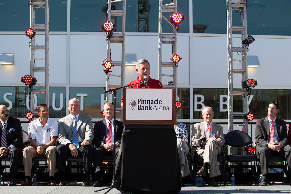 August 29, 2013: Governor Dave Heineman speaks at the Grand Opening for the Pinnacle Bank Arena in Lincoln, Nebraska.