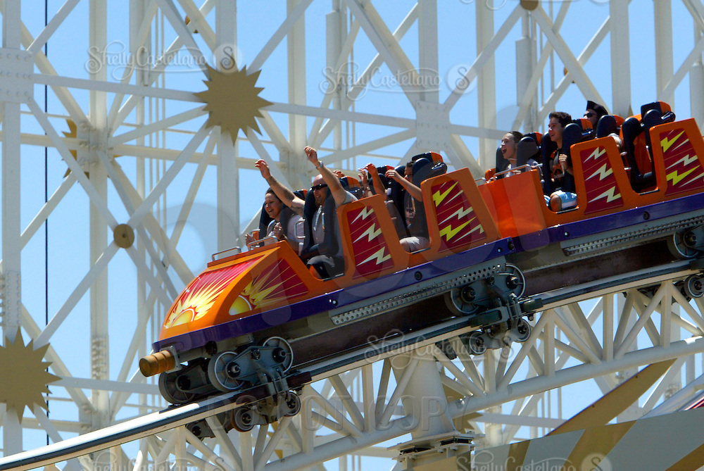 Jul 01, 2003; Anaheim, California, USA; Visitor on 'California Screamin' roller coaster ride @ Disney's California Adventure Theme Park. Guests enjoy this rollercoaster ride high atop the park.