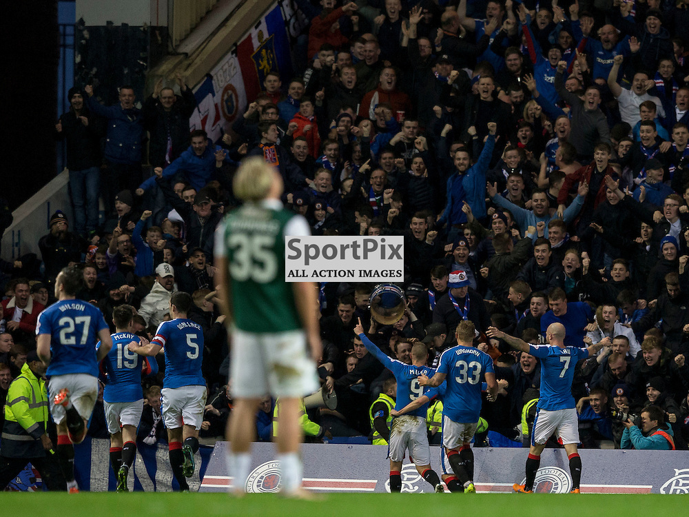 Rangers v Hibernian   SPFL season 2015-2016  <br /> <br /> rangers celebrate second goal during the Ladbrokes Championship match between Rangers v Hibernian at Ibrox Stadium on 28 December 2015<br /> <br /> Picture: Alan Rennie