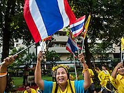 05 DECEMBER 2015 - BANGKOK, THAILAND: A woman waves Thai flags in the plaza at Siriraj Hospital on the 88th birthday of Bhumibol Adulyadej, the King of Thailand. Hundreds of people crowded into the plaza hoping to catch a glimpse of the revered Monarch. The King has lived at Siriraj Hospital off and on for more than four years.     PHOTO BY JACK KURTZ