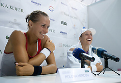 Winner Polona Hercog and Katarina Srebotnik of Slovenia at press conference after the 2nd Round of Singles at Banka Koper Slovenia Open WTA Tour tennis tournament, on July 21, 2010 in Portoroz / Portorose, Slovenia. (Photo by Vid Ponikvar / Sportida)
