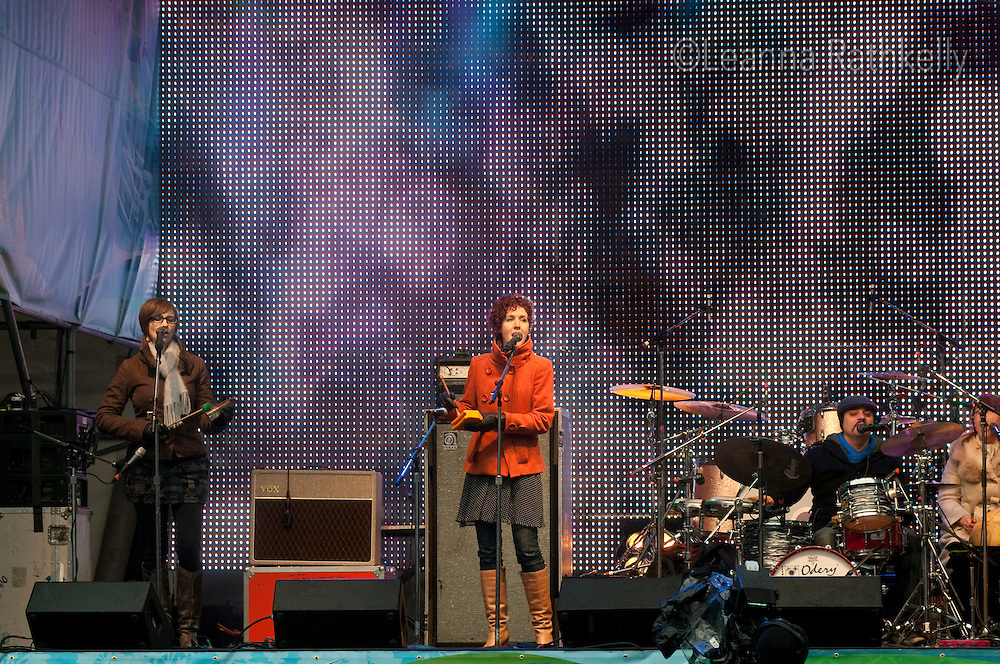 The five-piece band Chic Gamine performs on the Village Square stage during the 2010 Olympic Winter Games in Whistler, BC Canada.