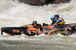 Unidentified whitewater rafters a person thrown overboard as they went through the rapids at Pillow Rock on the Gauley River during American Whitewater's Gauley Fest weekend. The upper Gauley, located in the Gauley River National Recreation Area is considered one of premier whitewater rivers in the country.