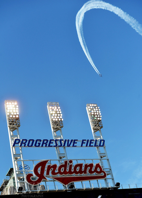 Sep 4, 2016; Cleveland, OH, USA; The Blue Angels fly over Progressive Field before the game between the Cleveland Indians and the Miami Marlins. The Blue Angels were performing in an air show in downtown Cleveland. Mandatory Credit: Ken Blaze-USA TODAY Sports