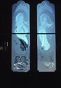 Etched glass door,Iolani Palace, Honolulu, Oahu, Hawaii USA<br />