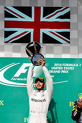 October 23, 2016 - Austin, Texas, U.S - Mercedes driver Lewis Hamilton (44) of Great Britain celebrates after winning the US Grand Prix race at the Circuit of the Americas race track in Austin,Texas. (Credit Image: © Dan Wozniak via ZUMA Wire)